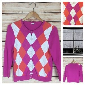J. Crew Argyle Cardigan Sweater Pink Orange M